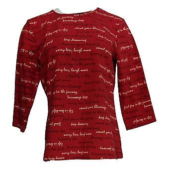 Denim & Co. Kvinder's Top Print Jersey Round Neck 3/4-Sleeve Red A367020