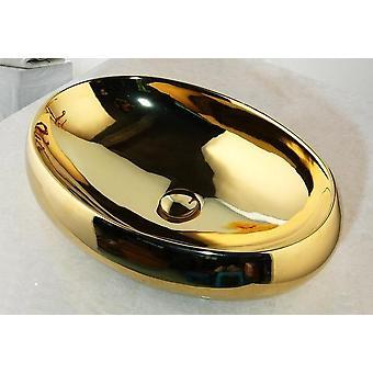 Massief Messing Gouden Luxe Keramische Wastafel Set