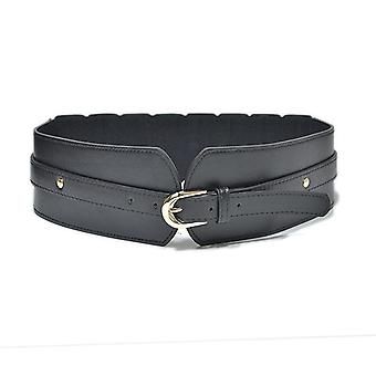 Luxury Ladies Wide Belt, Elastic Vintage Buckle/leather Wide, Wild Pin Buckle