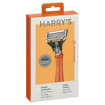 Harry's Razor Handle + 2 Cartridges Fel Oranje