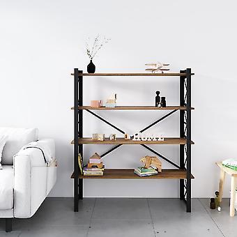 Bibliothèque noire d'étoile, bois en métal, chipboard de melamine, L120xP35xA150 cm, L112xP29xA34.5 cm