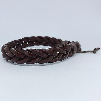 Bracelet tressé fait main pour hommes en cuir brun