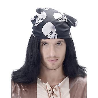 Perruque pirate avec bandana tête de mort adulte