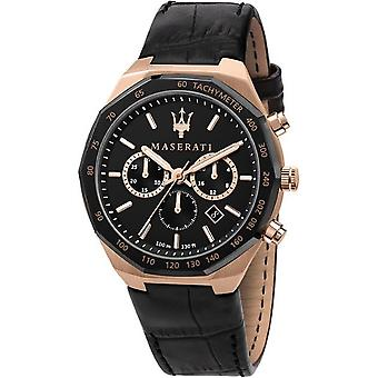 Maserati R8871642001 Montre-bracelet en cuir noir Stile