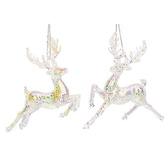 Single 15cm Clear Iridescent Reindeer - Hanging Ornament
