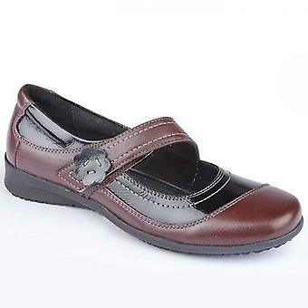 Mod Comfys Elsa Ladies Leather Mary Jane Shoes Wine