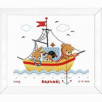 Vervaco contó kit de punto de cruz: Navegación en barco