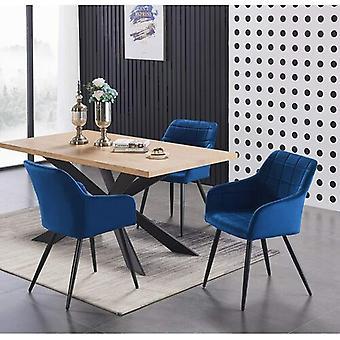 Lusso & Enzo Dining Set | Modern Dining Table | Velvet Dining Chair | Modern Set |  (black/oak & Blue)