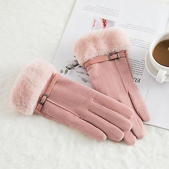 Vinter kvinde dobbelt tyk plys håndled varm touch screen kørehandske