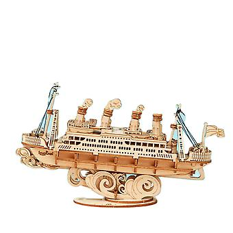 3D Wooden Puzzle Games Boat & Cruise Ship Model Toys For Kids Birthday Gift Model Building Tool Sets