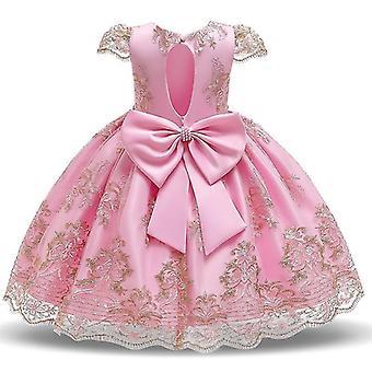 90Cm hellrosa Kinder formale Kleidung elegante Partei Pailletten Tutu Taufe Kleid Hochzeit Geburtstagskleider für Mädchen fa1775