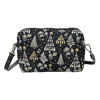 عيد الميلاد شجرة الطرف حقيبة | أسود وذهبي عبر الكتف حقيبة | hpbg-xmas شجرة