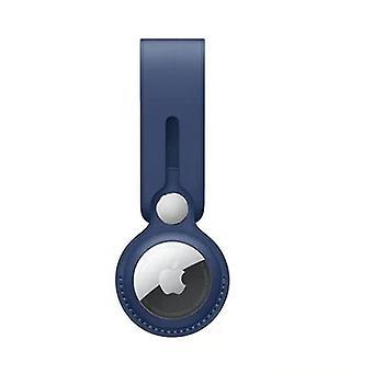blaue AirTag Leder All-Inclusive-Schutzhülle, Anti-Drop und Anti-verlorenen Schlüsselanhänger (Blau)