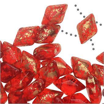 Czech Glass GemDuo, 2-Hole Diamond Shaped Beads 8x5mm, 8 Grams, Gold Splash Ruby