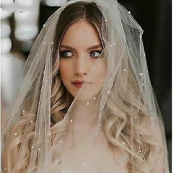 لؤلؤة طويلة، الحجاب الزفاف لينة مع مشط