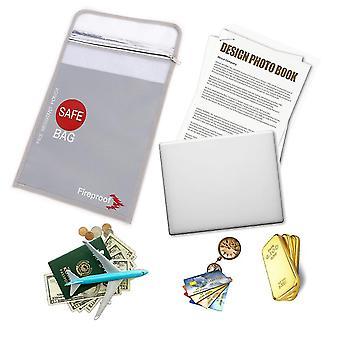 Tulenkestävä asiakirjapussi Vedenpitävä Tiedosto SäilytysPussi Raha Passi Safe Bag