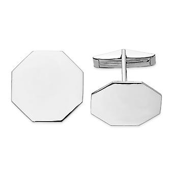 14k White Gold Solid Polished Engravable Octagon Cuff Links Jewelry Gifts for Men - 8.1 Grams