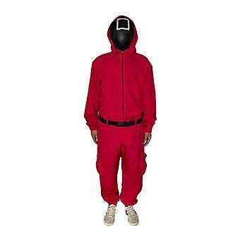 Кальмар Игровой костюм Красный комбинезон с поясом Перчатки, Косплей Хэллоуин Костюм