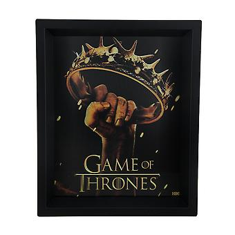 Game of Thrones Crown logoet 8 X 10 3D Shadow Box vægtæppe