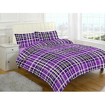 Evan Check Brushed Cotton Flannelette Thermal Duvet Cover Bedding Set