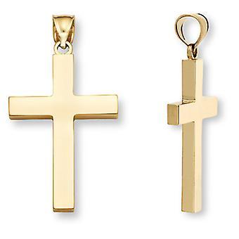 Plat 14K or féminin Croix pendentif