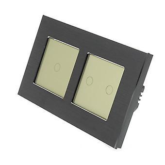 Ich LumoS schwarz gebürstetem Aluminium Doppelrahmen 3 Gang 1 Weg entfernten & Dimmer Touch-LED-Licht-Schalter-Gold Gold Insert Einfügen