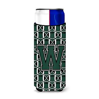 Letter W Football Green and White Ultra Beverage Insulators for slim cans