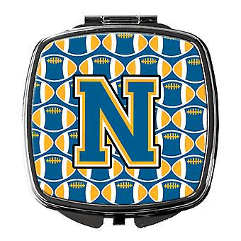 Carolines Treasures  CJ1077-NSCM Letter N Football Blue and Gold Compact Mirror