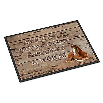 Kick off your boots and stay a while Indoor or Outdoor Mat 24x36