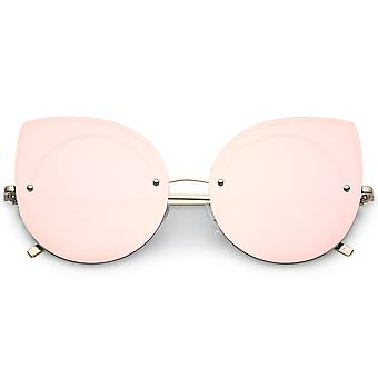 Oversize Rimless Cat Eye Sunglasses With Mirrored Flat Lens Ultra Slim Arms 64mm