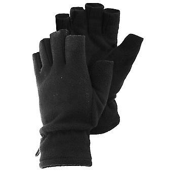 FLOSO Mens Fleece Fingerless Winter Gloves