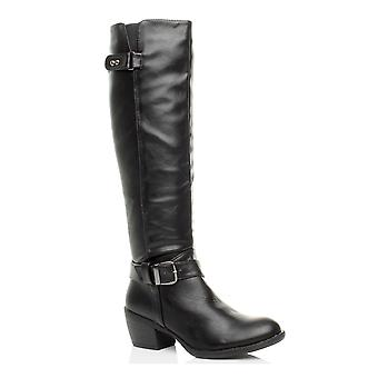 Ajvani womens mid low block heel zip buckle strap biker calf knee boots