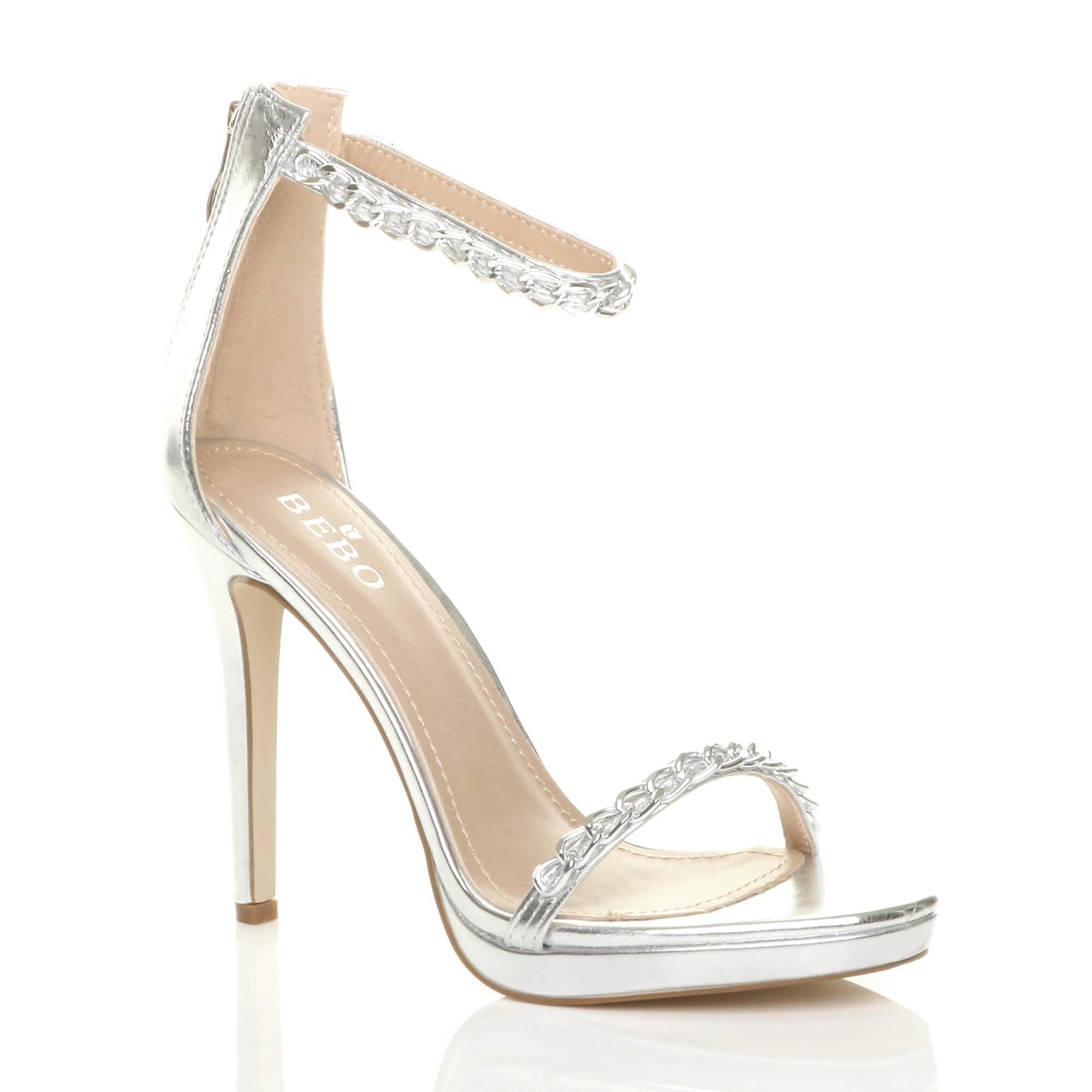 Ajvani damskie wysokie pięty ledwo tam łańcucha paski sandały buty partii 5nsvq