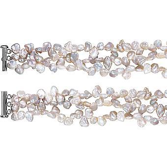 Argento d'acqua dolce Keshi bianco d'acqua dolce coltivate perle Bracciale 8-9mm 7,5 pollici
