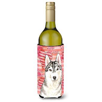 Amor un Husky siberiano botella de vino Beverge aislador Hugger