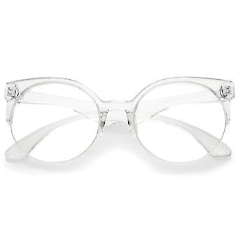 クリアレンズ半縁なしの眼鏡ラウンド現代半透明フレーム 54 mm