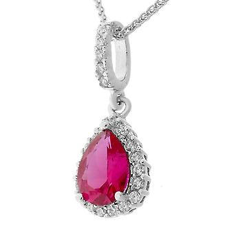 Orphelia Silver 925 Pendant Drop With Chain 42+3 Cm Ruby Color Zirconium  ZH-7226/RU