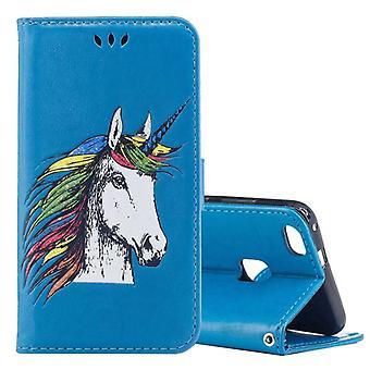 Portefeuille de poche bleu de la Licorne pour Huawei P10 Lite protection manches étui nouveau