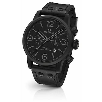 TW Steel Maverick kaliber Chronograph Black Leather Strap zwart Dial MS114 Watch