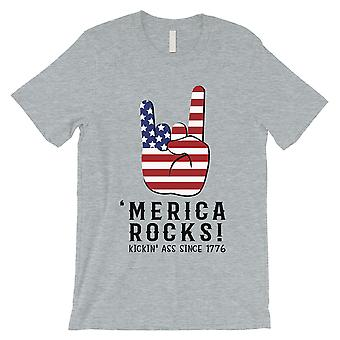 Merica Rocks T-Shirt Mens Grey 4th of July Shirt Army Brother Gift