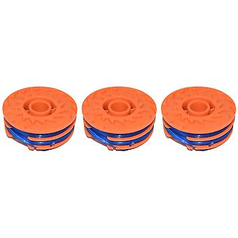 3 x Spool & Line For Worx WG100E Strimmers 5 Metre