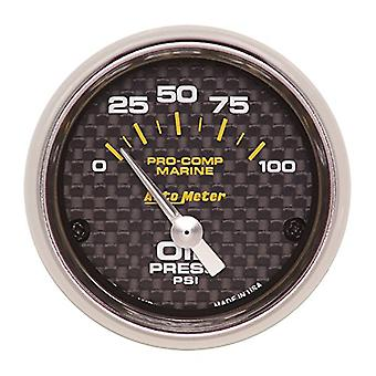 AutoMeter 200758-40 Marine Electric Oil Pressure Gauge 2-1/16 in. Carbon Fiber Dial Face Silver Pointer White Incandesce