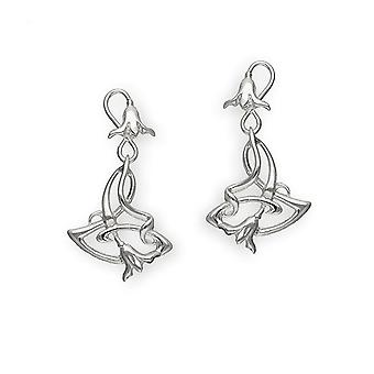 Sterling Silver Traditional Art Nouveau 'New Art' Design Pair of Earrings - E243