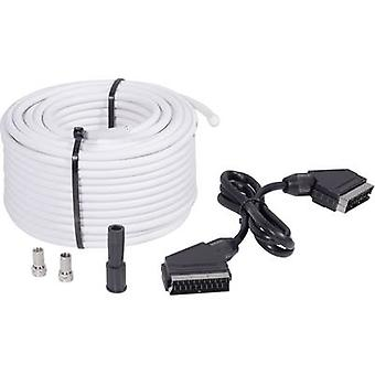 BKL Cavo SAT elettronico [1x F plug, SCART plug - 1x F plug, SCART plug] 25.00 m 75 dB Nero, Bianco