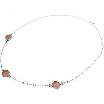 Damen - Halskette - 925 Sterling Silber - DRUZY - Rose - Quarz - 50 cm