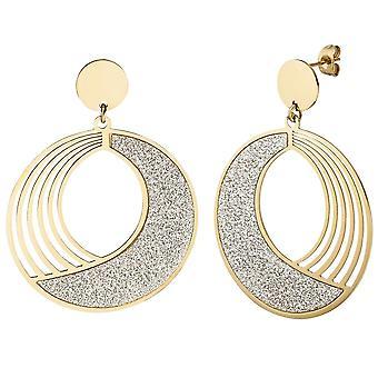Boucles d'oreilles Boucles d'oreilles-enduit ronde en acier inoxydable or couleurs avec effet scintillant
