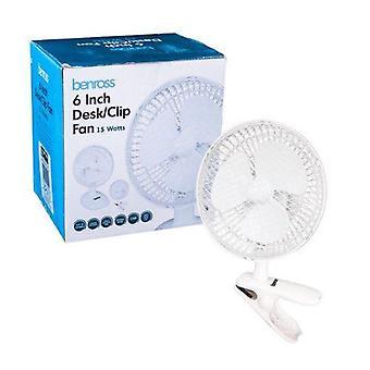 Benross 2 in 1 Desk & Clip Fan, 6-Inch, 15 Watt wit