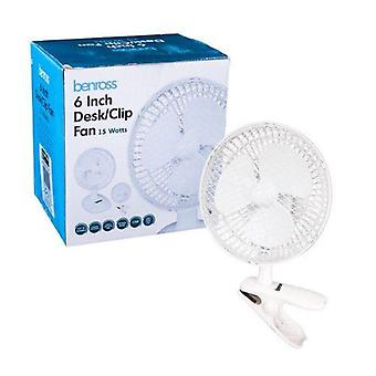 Benross 2 in 1 Desk & Clip Fan, 6-tuumainen, 15 Watt valkoinen
