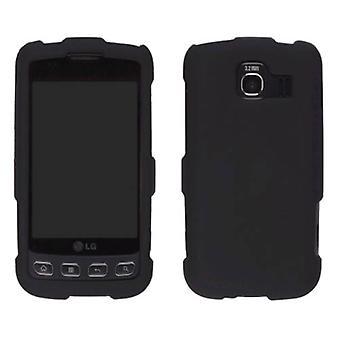 Duas peças Soft Touch snap-on case para LG Optimus S LS670, Optimus U US670-preto
