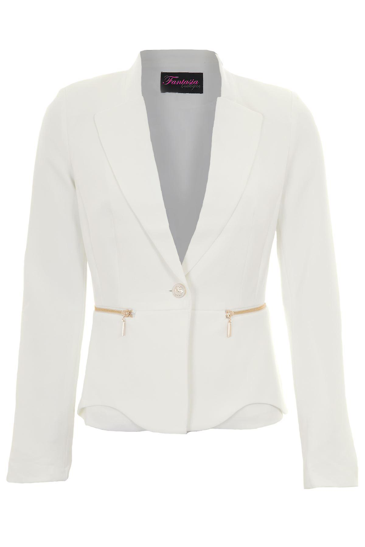 Ladies Long Sleeve Collared Low V Lined Formal Office Zip Detail Blazer Jacket